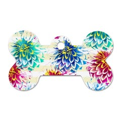 Colorful Dahlias Dog Tag Bone (two Sides) by DanaeStudio