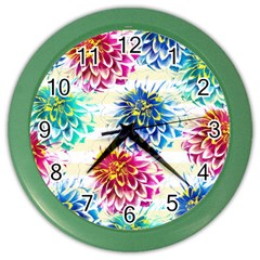 Colorful Dahlias Color Wall Clocks by DanaeStudio