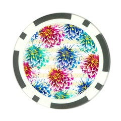 Colorful Dahlias Poker Chip Card Guards
