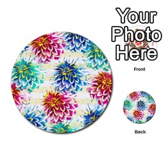 Colorful Dahlias Multi-purpose Cards (Round)