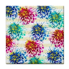 Colorful Dahlias Face Towel