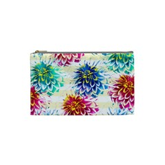 Colorful Dahlias Cosmetic Bag (small)  by DanaeStudio