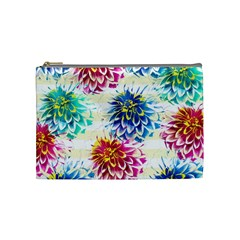 Colorful Dahlias Cosmetic Bag (medium)  by DanaeStudio
