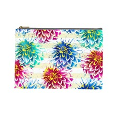 Colorful Dahlias Cosmetic Bag (large)  by DanaeStudio