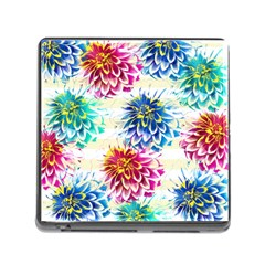 Colorful Dahlias Memory Card Reader (Square)