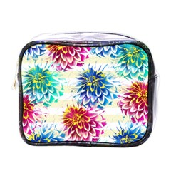 Colorful Dahlias Mini Toiletries Bags