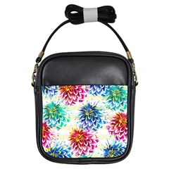 Colorful Dahlias Girls Sling Bags by DanaeStudio