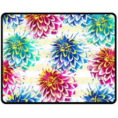Colorful Dahlias Fleece Blanket (medium)  by DanaeStudio