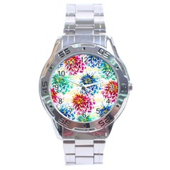 Colorful Dahlias Stainless Steel Analogue Watch