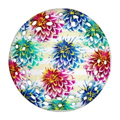 Colorful Dahlias Round Filigree Ornament (2side) by DanaeStudio