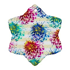 Colorful Dahlias Snowflake Ornament (2-Side)