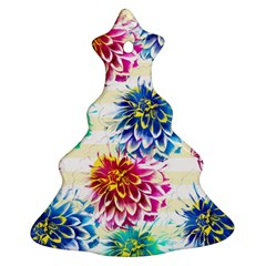 Colorful Dahlias Christmas Tree Ornament (2 Sides)