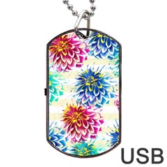 Colorful Dahlias Dog Tag USB Flash (One Side)