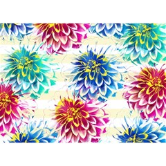 Colorful Dahlias Birthday Cake 3d Greeting Card (7x5) by DanaeStudio