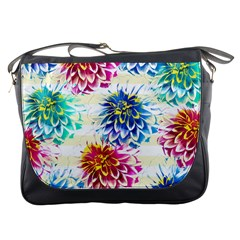 Colorful Dahlias Messenger Bags