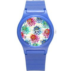 Colorful Dahlias Round Plastic Sport Watch (S)
