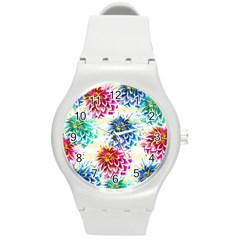 Colorful Dahlias Round Plastic Sport Watch (M)
