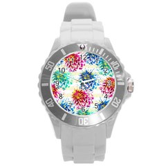 Colorful Dahlias Round Plastic Sport Watch (L)