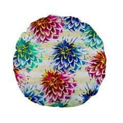 Colorful Dahlias Standard 15  Premium Round Cushions