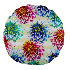 Colorful Dahlias Large 18  Premium Round Cushions by DanaeStudio