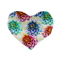 Colorful Dahlias Standard 16  Premium Heart Shape Cushions