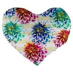 Colorful Dahlias Large 19  Premium Heart Shape Cushions