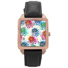 Colorful Dahlias Rose Gold Leather Watch
