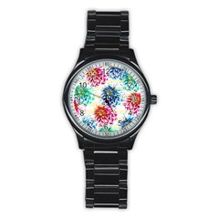 Colorful Dahlias Stainless Steel Round Watch