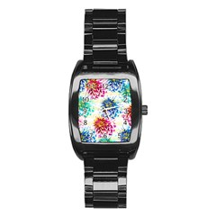 Colorful Dahlias Stainless Steel Barrel Watch