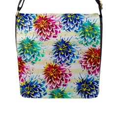 Colorful Dahlias Flap Messenger Bag (L)