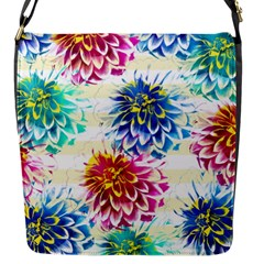 Colorful Dahlias Flap Messenger Bag (S)