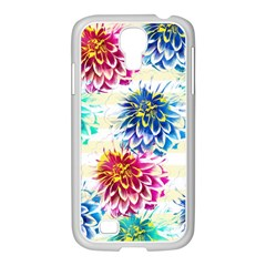 Colorful Dahlias Samsung Galaxy S4 I9500/ I9505 Case (white) by DanaeStudio