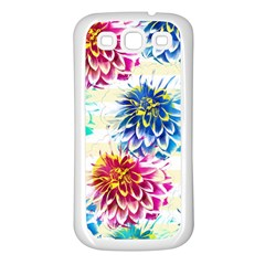 Colorful Dahlias Samsung Galaxy S3 Back Case (white) by DanaeStudio