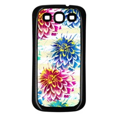 Colorful Dahlias Samsung Galaxy S3 Back Case (Black)