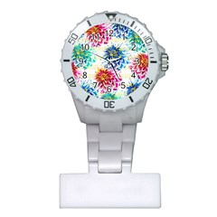 Colorful Dahlias Plastic Nurses Watch
