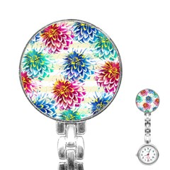 Colorful Dahlias Stainless Steel Nurses Watch