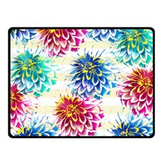 Colorful Dahlias Double Sided Fleece Blanket (small)  by DanaeStudio