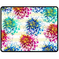 Colorful Dahlias Double Sided Fleece Blanket (Medium)