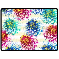 Colorful Dahlias Double Sided Fleece Blanket (Large)