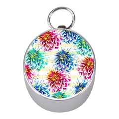 Colorful Dahlias Mini Silver Compasses