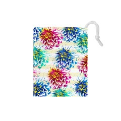 Colorful Dahlias Drawstring Pouches (Small)