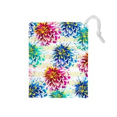 Colorful Dahlias Drawstring Pouches (Medium)