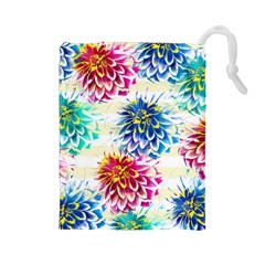 Colorful Dahlias Drawstring Pouches (Large)