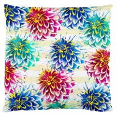 Colorful Dahlias Large Flano Cushion Case (One Side)