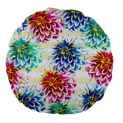 Colorful Dahlias Large 18  Premium Flano Round Cushions by DanaeStudio