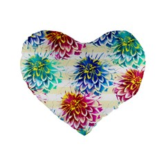 Colorful Dahlias Standard 16  Premium Flano Heart Shape Cushions