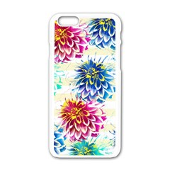 Colorful Dahlias Apple Iphone 6/6s White Enamel Case by DanaeStudio