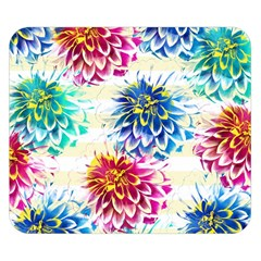 Colorful Dahlias Double Sided Flano Blanket (small)  by DanaeStudio