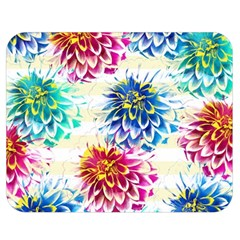 Colorful Dahlias Double Sided Flano Blanket (medium)  by DanaeStudio