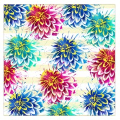 Colorful Dahlias Large Satin Scarf (Square)